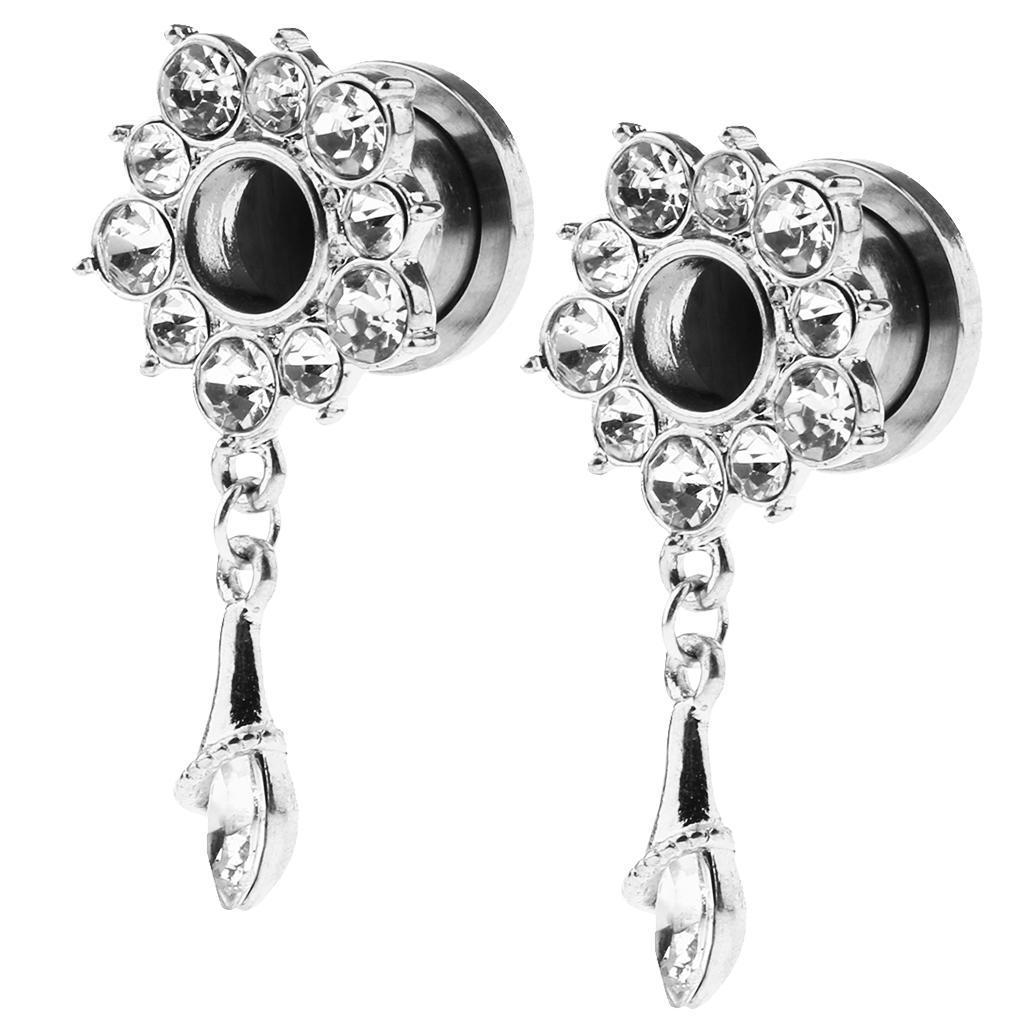 In-acciaio-inox-elegante-strass-fiore-orecchio-tunnel-ciondoli-calibri miniatura 5