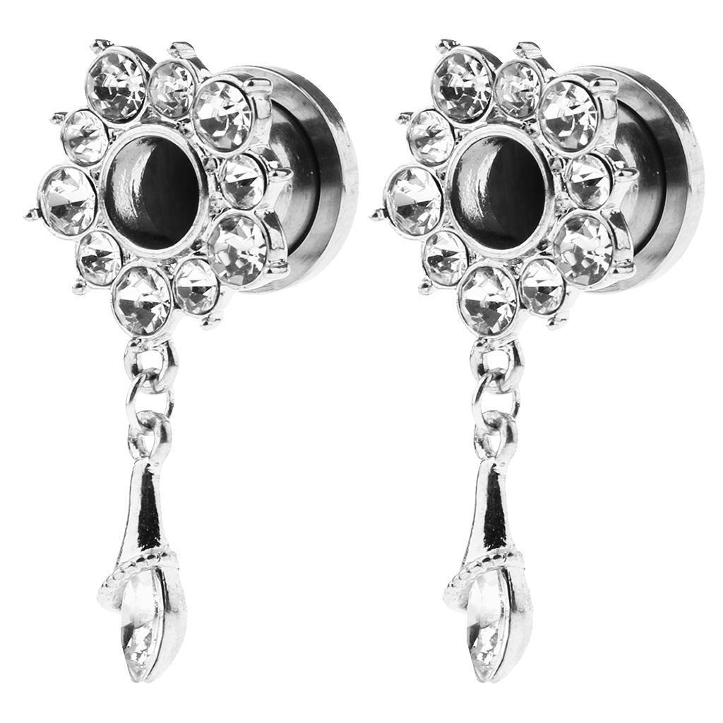 In-acciaio-inox-elegante-strass-fiore-orecchio-tunnel-ciondoli-calibri miniatura 3