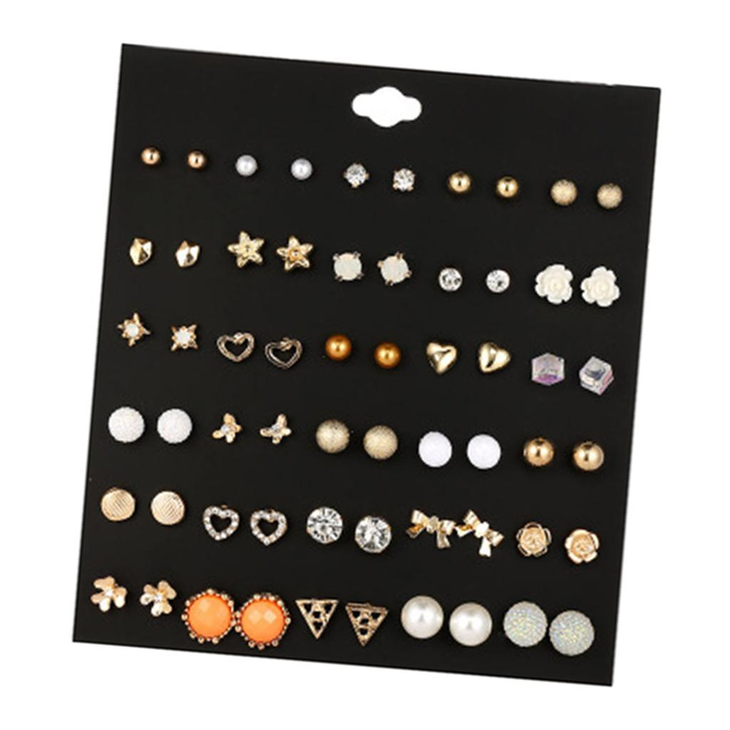30Pair-Set-Hypoallergenic-Geometric-Crystal-Earrings-Piercing-Stud-Earrings miniature 16
