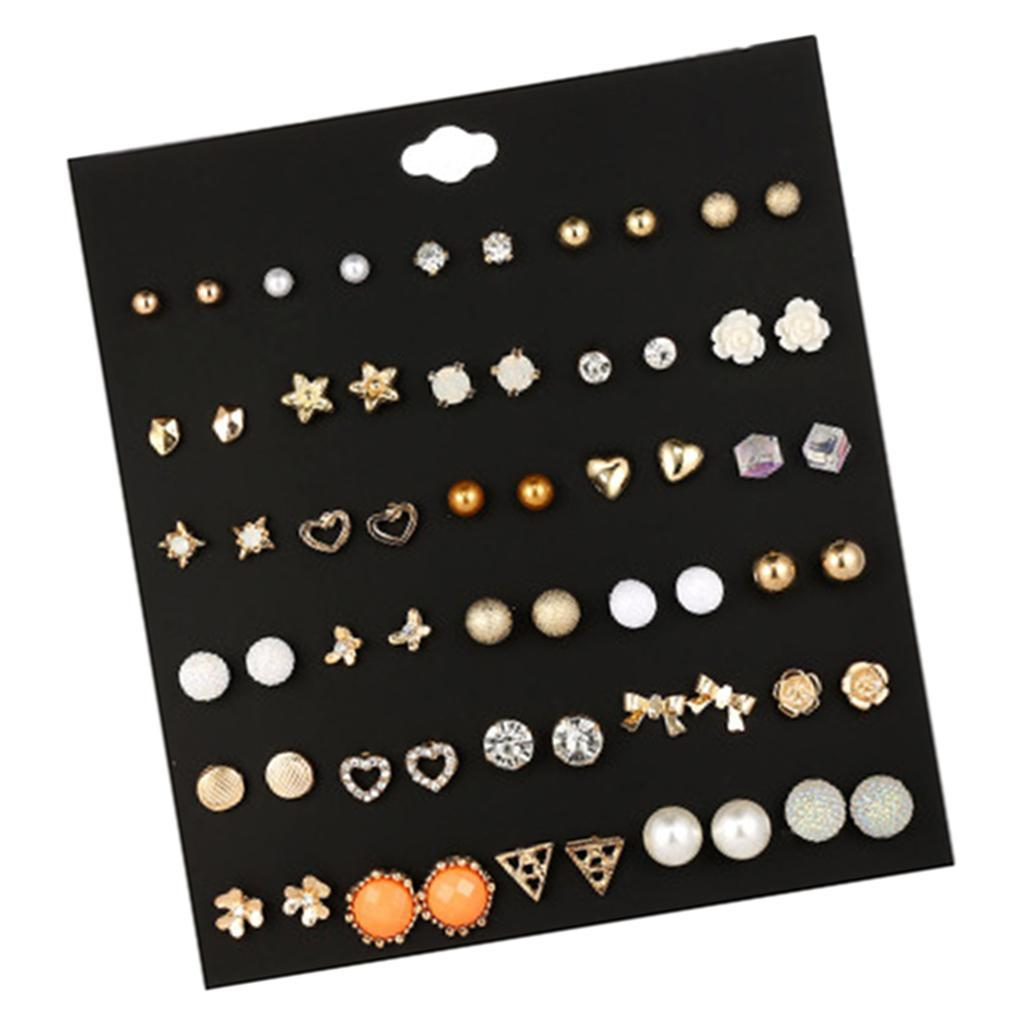 30Pair-Set-Hypoallergenic-Geometric-Crystal-Earrings-Piercing-Stud-Earrings miniature 17