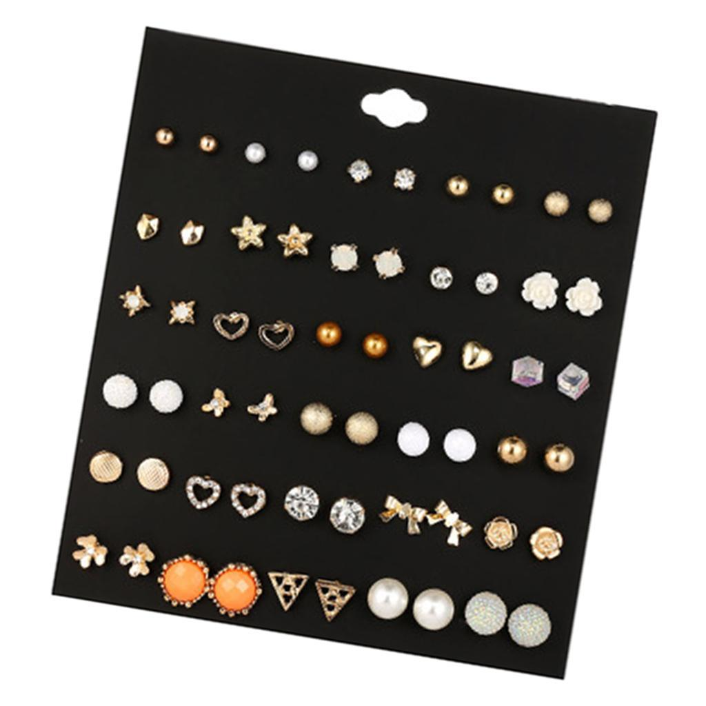 30Pair-Set-Hypoallergenic-Geometric-Crystal-Earrings-Piercing-Stud-Earrings miniature 18