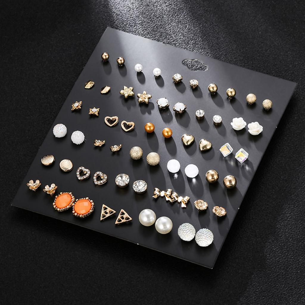 30Pair-Set-Hypoallergenic-Geometric-Crystal-Earrings-Piercing-Stud-Earrings miniature 19
