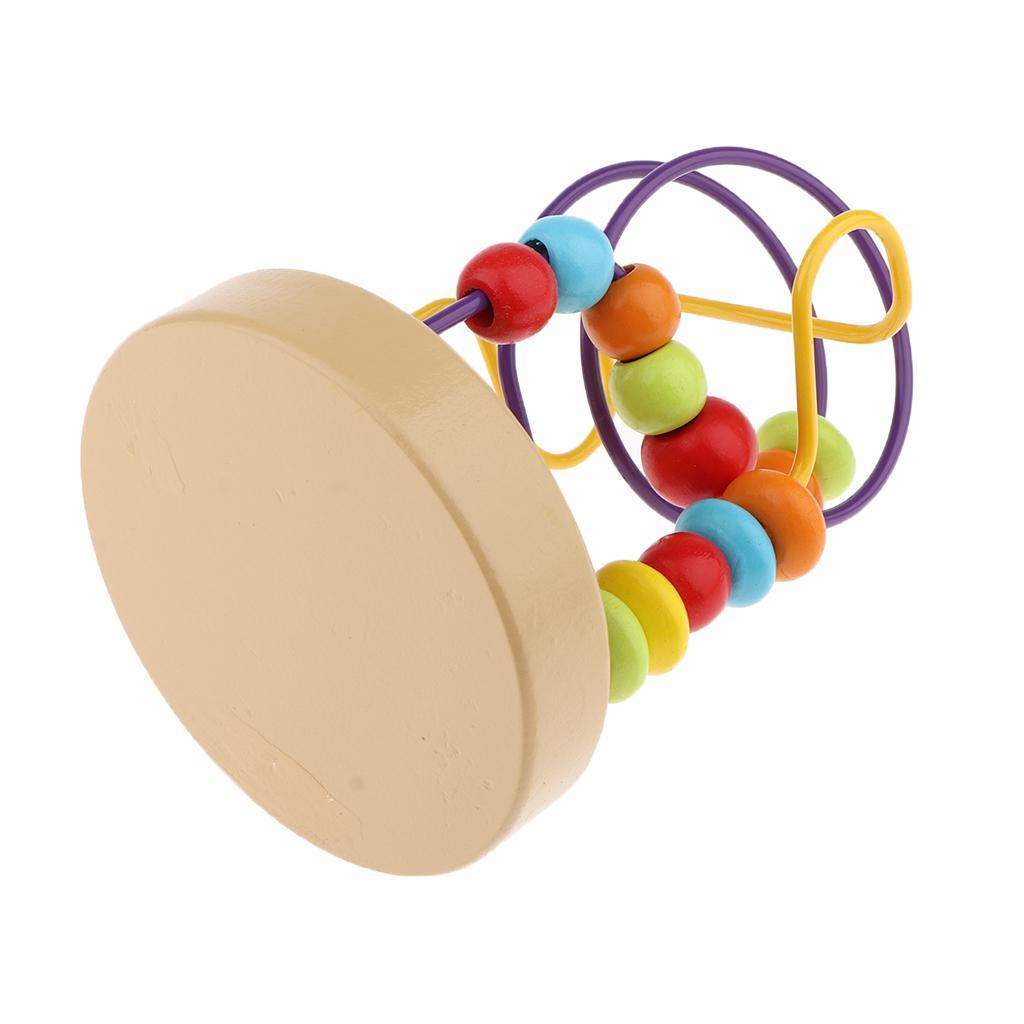 thumbnail 7 - Wooden Colorful Roller Coaster Educational Circle Bead Maze Toy for Toddlers