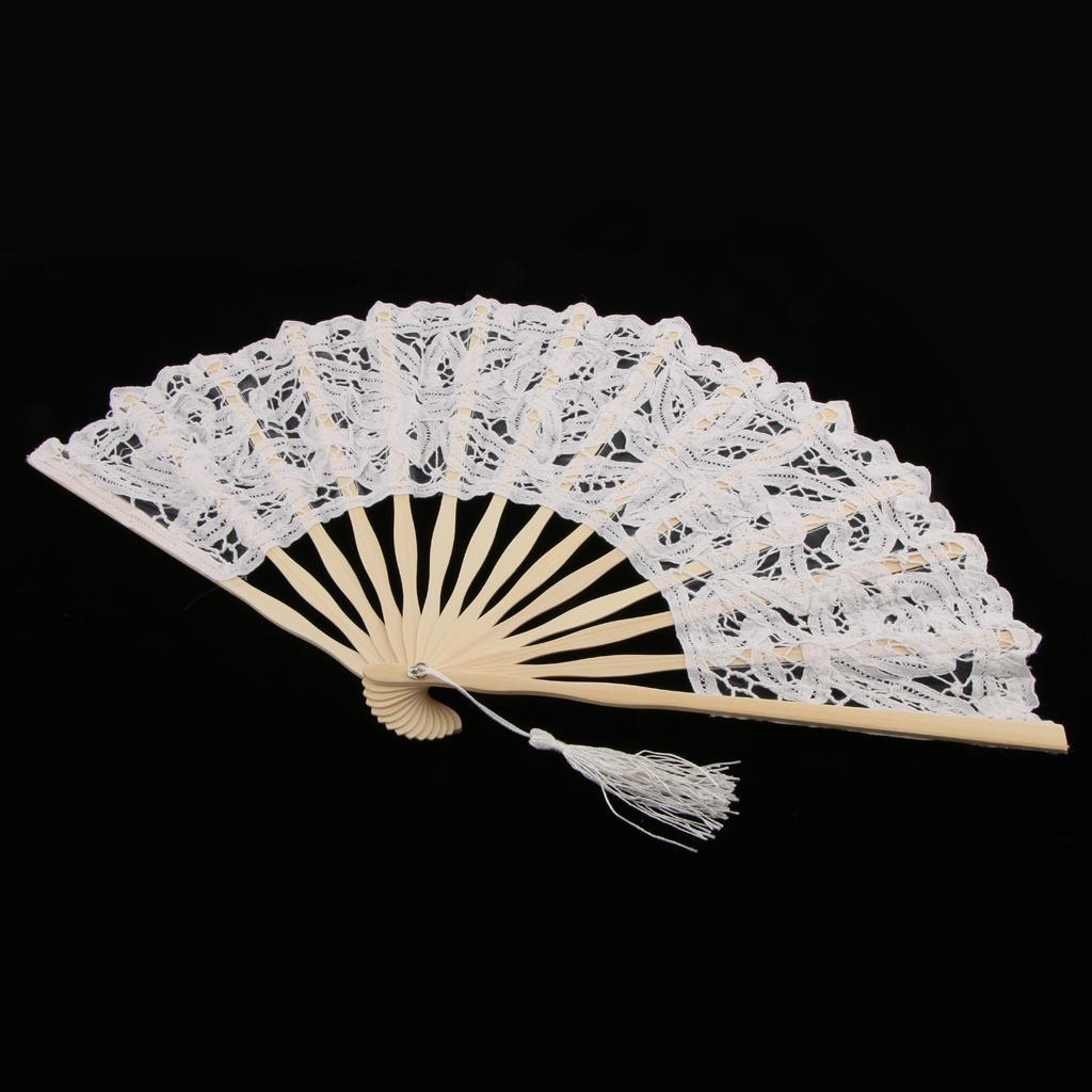 Details about Wedding Folding Hand Held Fan Lace Flower Design Bride  Accessory