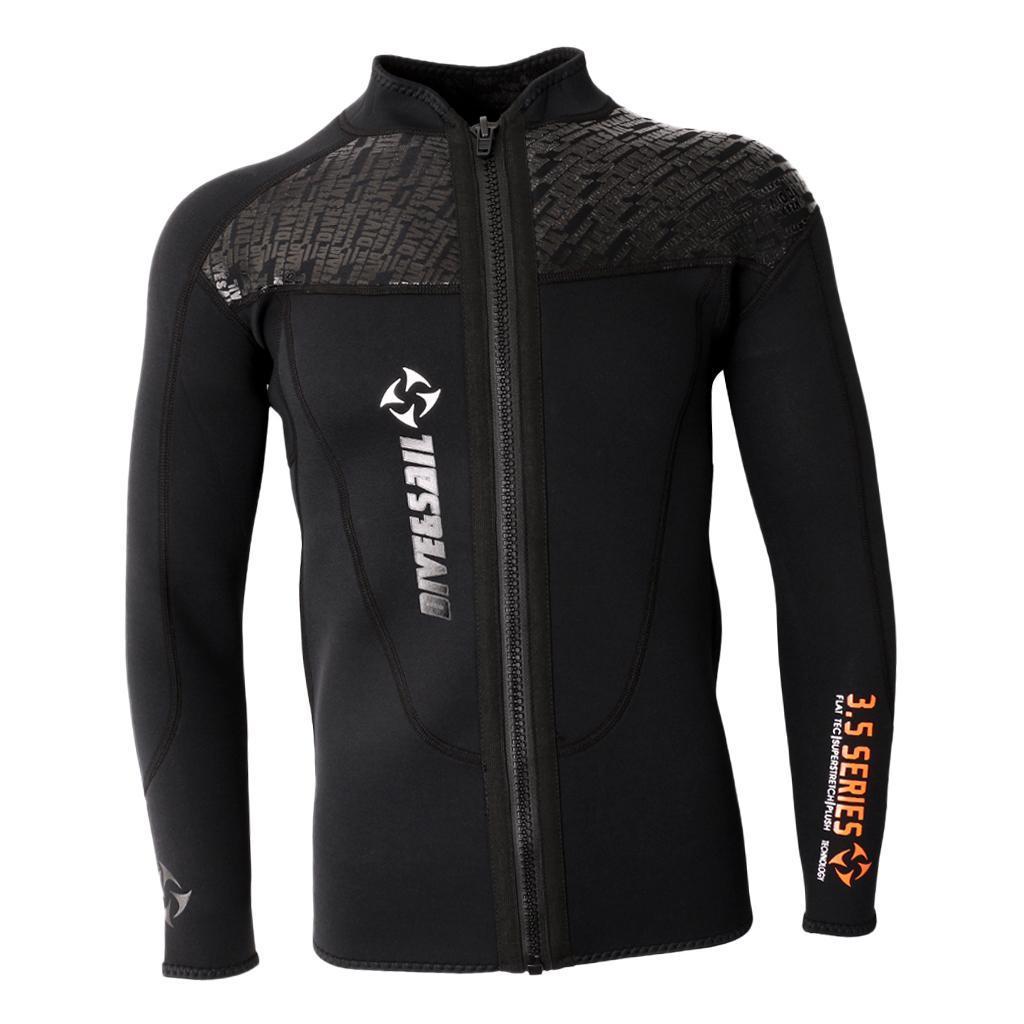 thumbnail 12 - 3mm Wetsuits Jacket Mens Long Sleeve Full Zipper Surfing Diving Top Swimwear