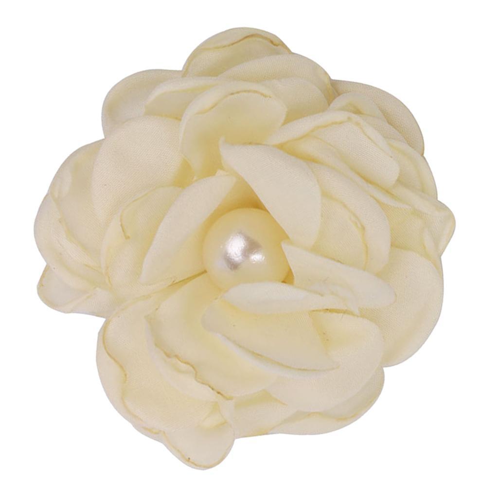10pcs Adorable Flower Hair Clips For Party Favor Hair Decoration Accessories -Beige
