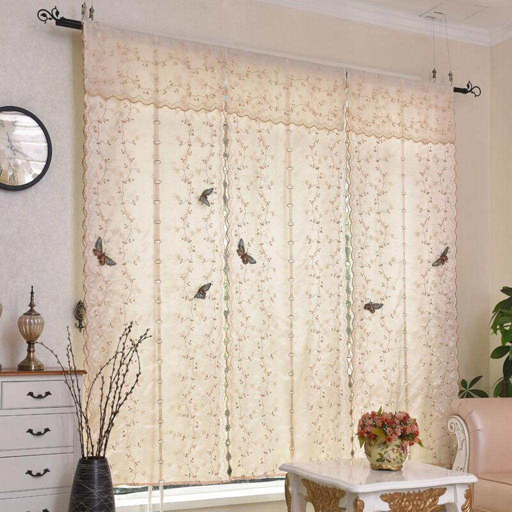 Curtain For Balcony: Butterfly Window Sheer Valance Roman Curtain Shades For