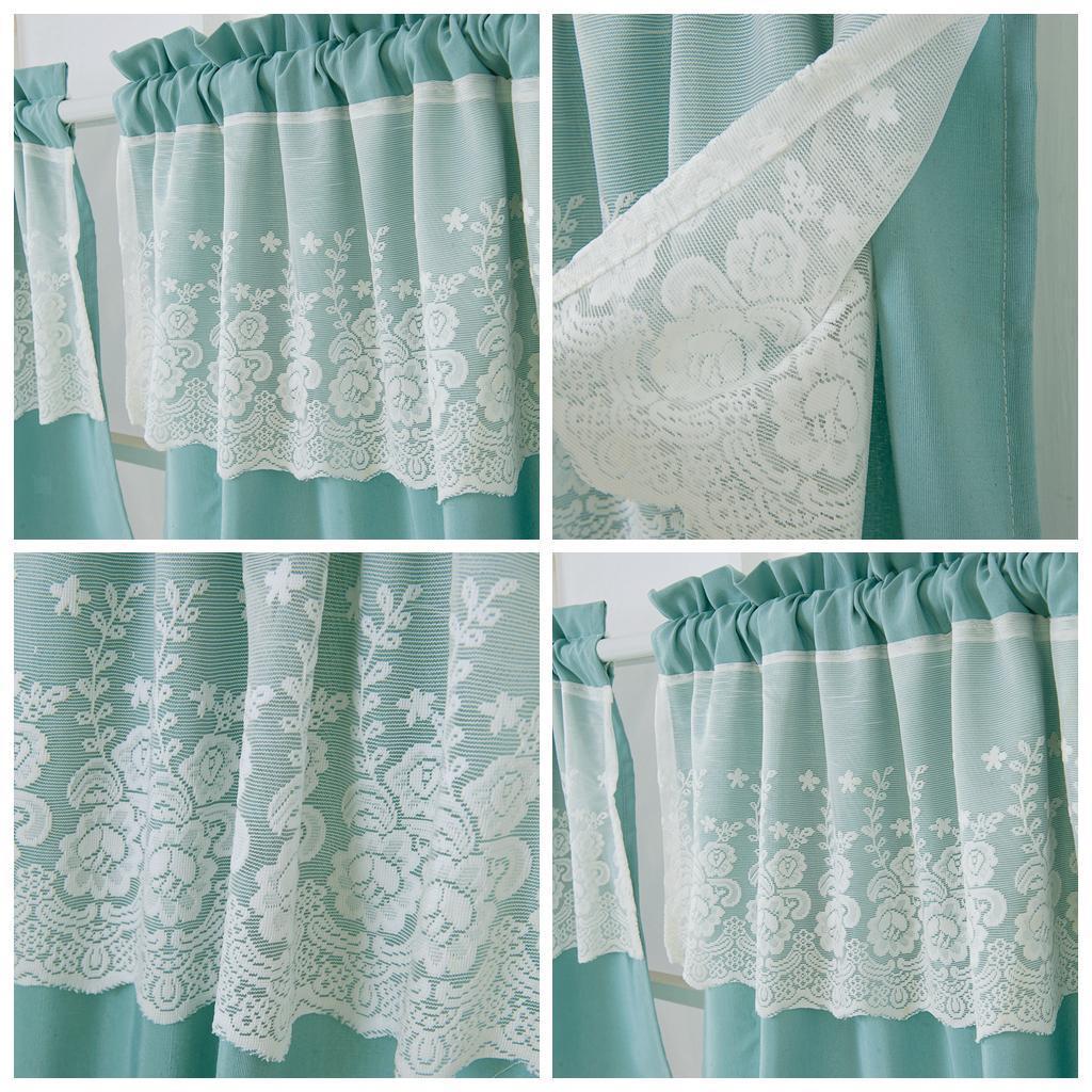 2 panels kitchen tier curtains rod pocket lace cafe