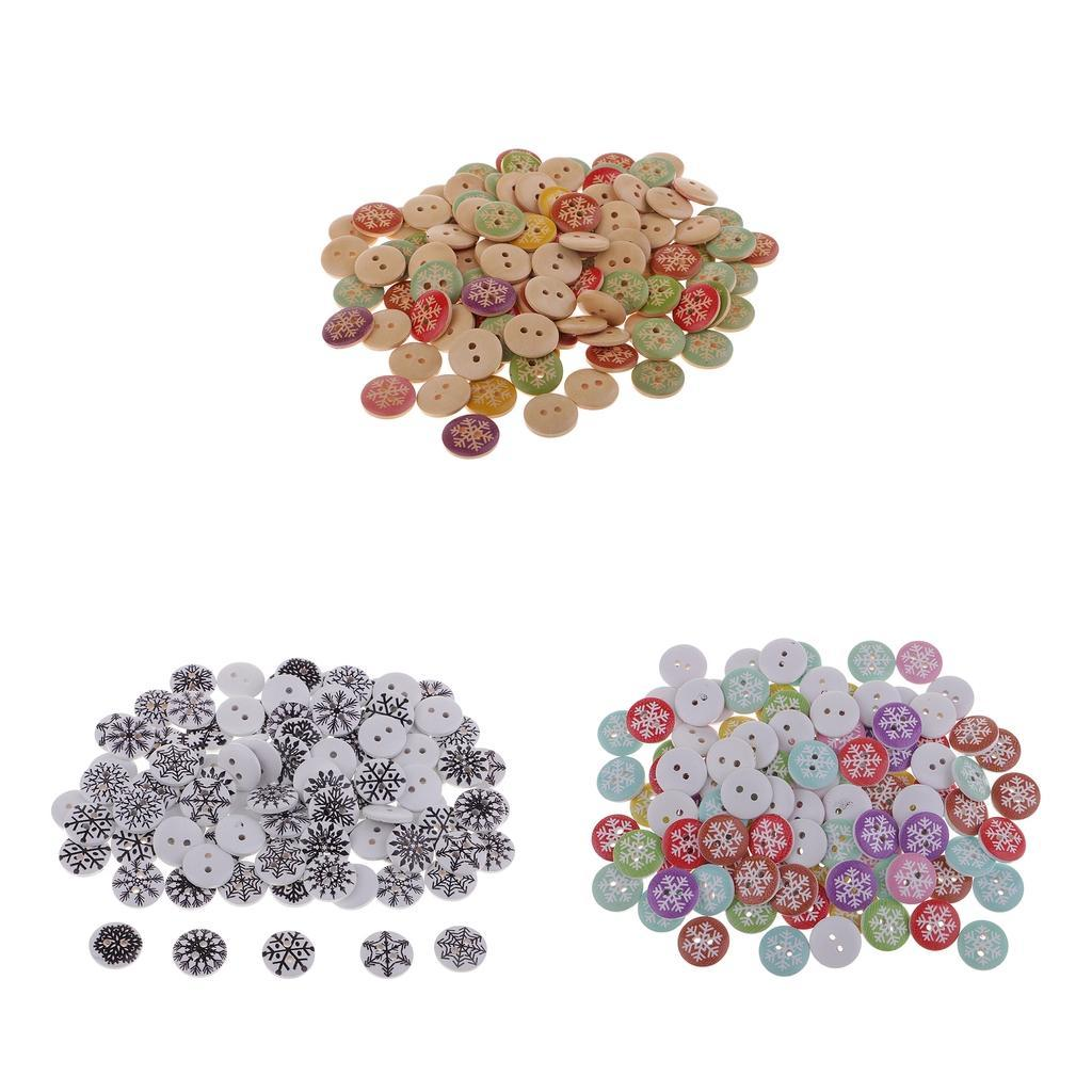 100pcs 2 Holes Wooden Butons Snowflake Shape Buttons DIY Sewing Scrapbooking