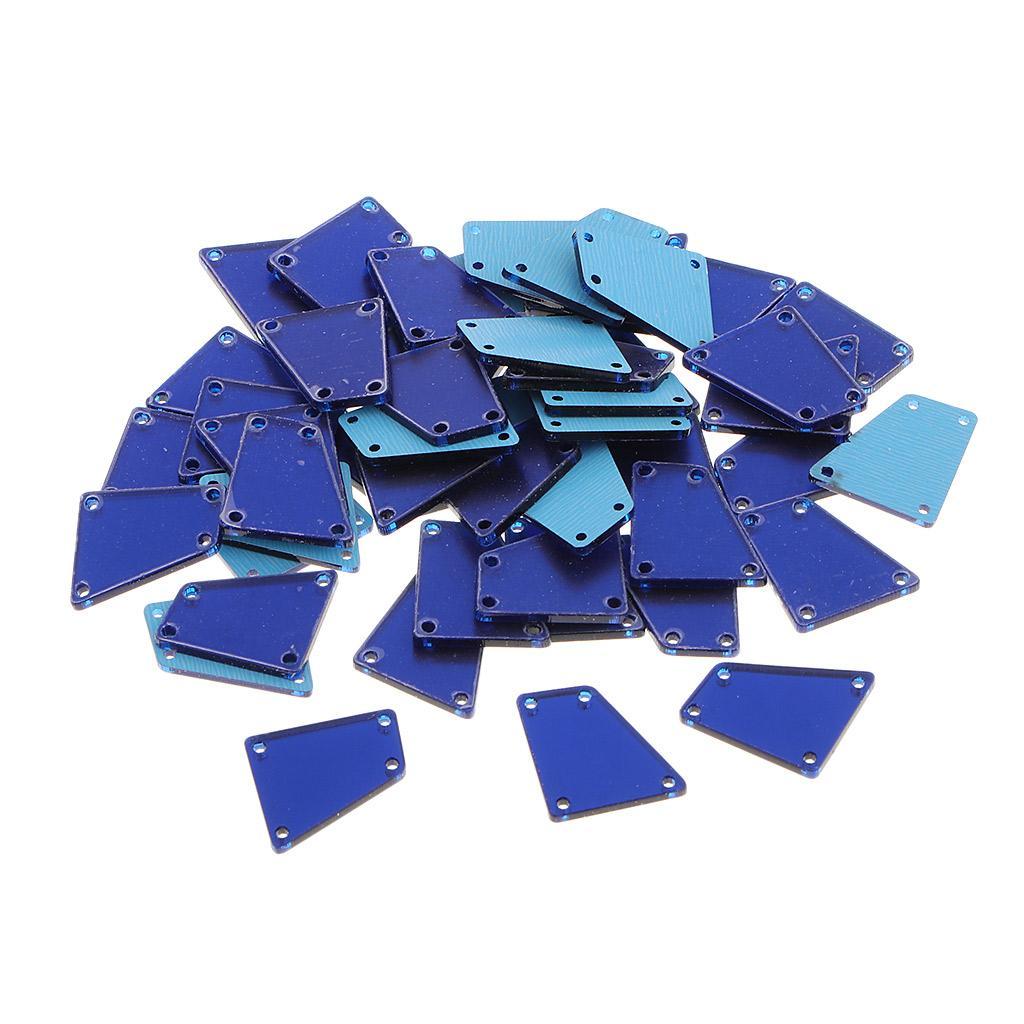 50pcs 17x19mm Irregular Acrylic Crystal Rhinestones Flatback Sew On 4 Holes