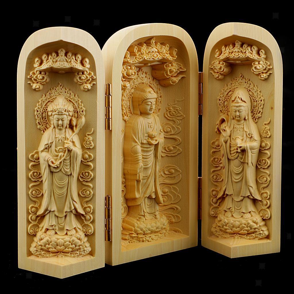thumbnail 4 - Buddha Statue Carved Locker Box Sculpture Decoration Made of Boxwood