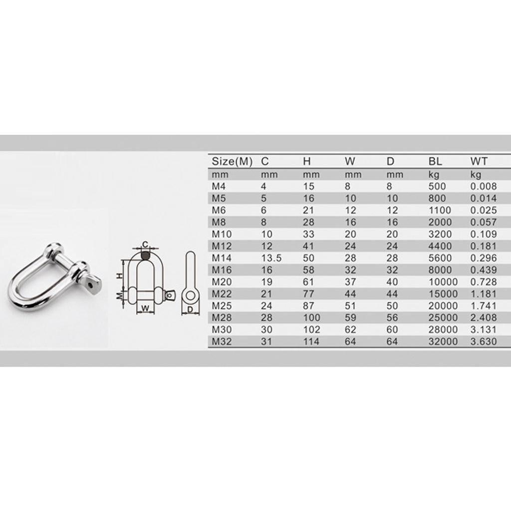 Stainless-Steel-D-Shackle-Chain-Shackle-Rigging-Anti-rust-Fastener-M10-M14 thumbnail 7