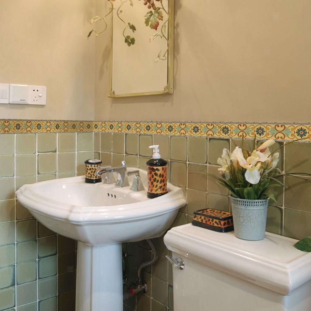 500cm Self-Adhesive Bathroom Waterproof Floor Decal Wall ...
