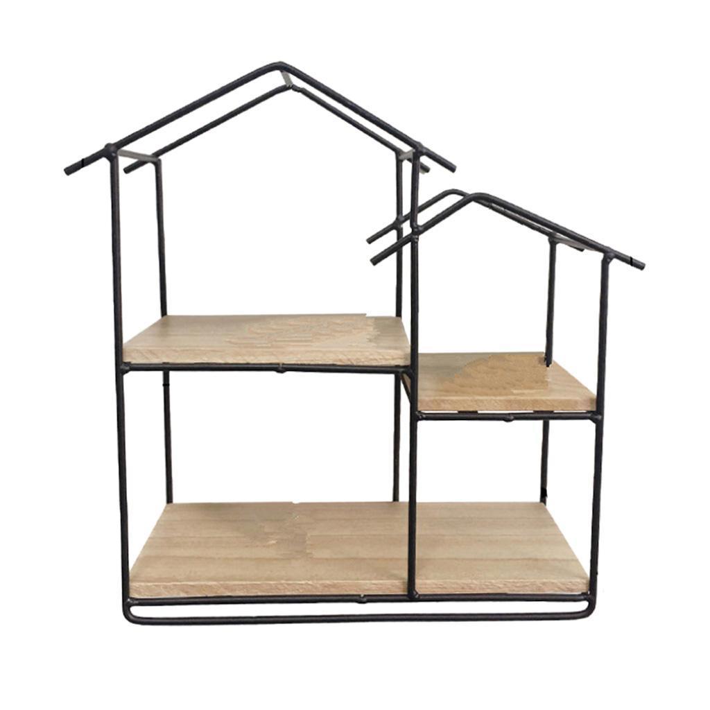 House-Shaped-Iron-Wooden-Wall-Shelf-Display-Rack-Shelf-Storage-Unit-Decor thumbnail 12