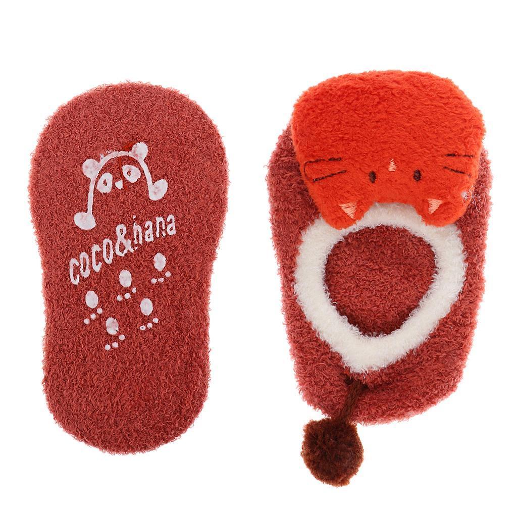 Chaussons-Bebe-Chaussettes-Bateaux-Antiderapant-Cartoon-Chaud-Pompon-Coton-Doux miniature 37