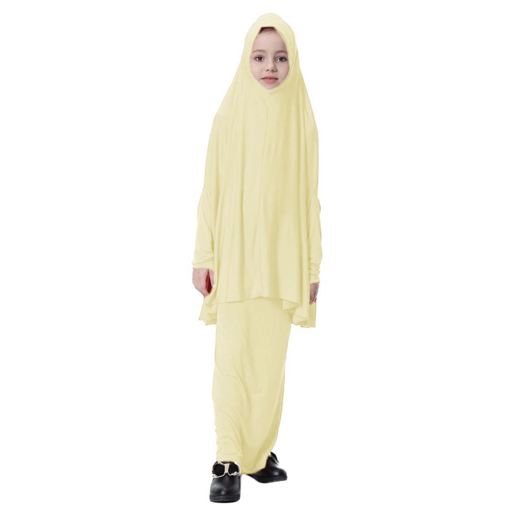 Fille-Robes-Musulmane-Islamique-a-Manches-Longues-Deux-Pieces-Priere-Robe miniature 58