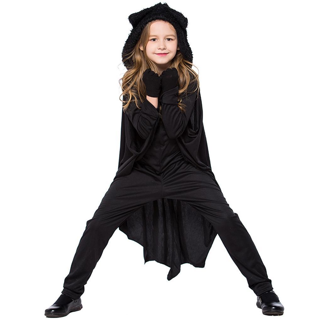 Kids Bat Halloween Costume Vampire Spandex Hooded Jumpsuit with Wing Girls Boys
