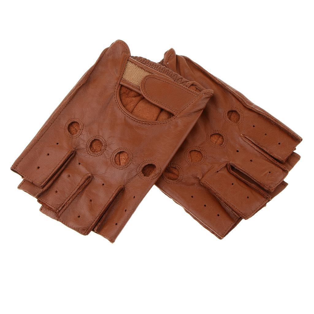 cd4f57a28c1782 Herren-Damen-Lederhandschuhe-Halbfinger-fingerlose-Handschuhe-Fahrhandschuh  Indexbild 30