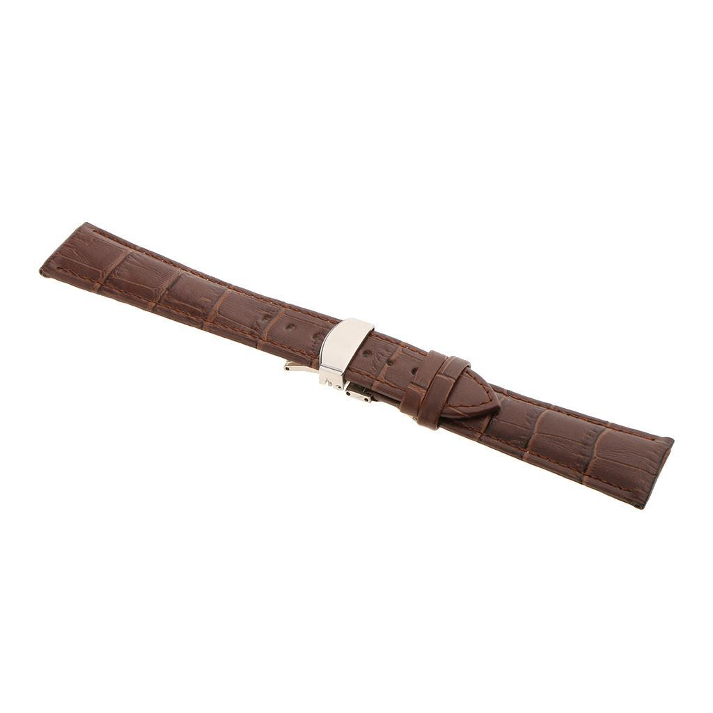 Genuine-Leather-Watch-Strap-Band-18-20-22mm-With-Butterfly-Deployment-Clasp thumbnail 23