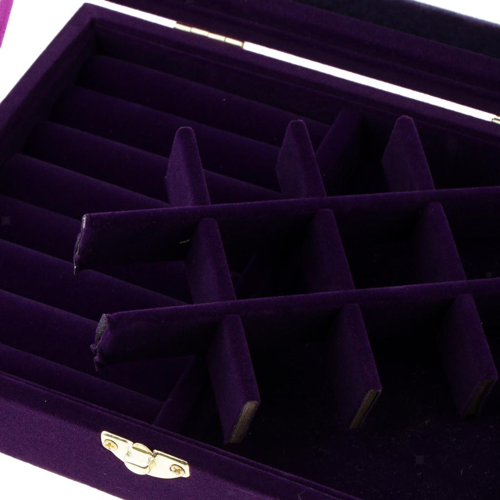 Cufflinks-Earrings-Ring-Display-Showcase-Top-Glass-Lid-Jewelry-Organizer thumbnail 9