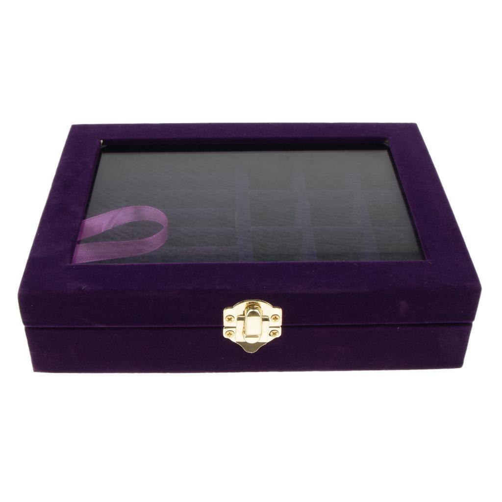 Cufflinks-Earrings-Ring-Display-Showcase-Top-Glass-Lid-Jewelry-Organizer thumbnail 7