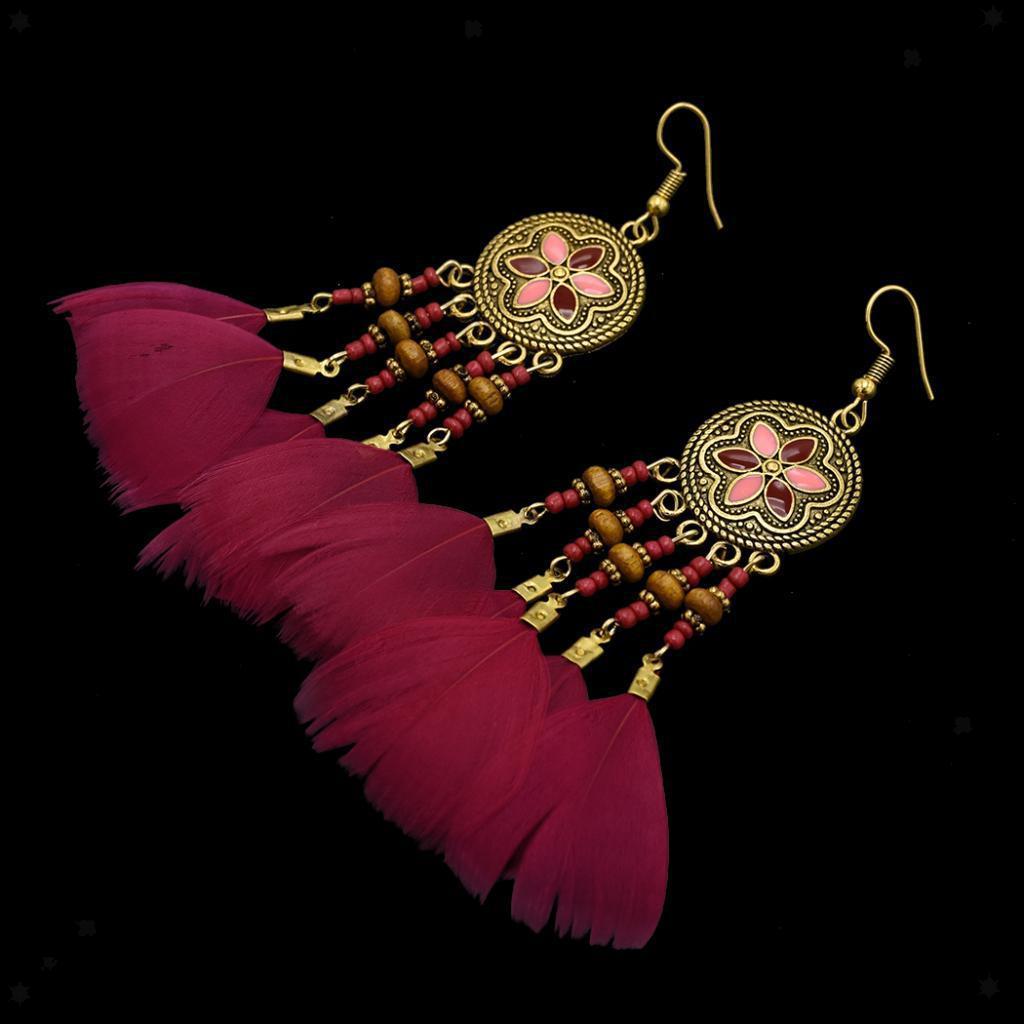 miniatura 18 - Orecchini Pendenti Lunghi Fatti A Mano Perla Boemia Accessorio per Ballo.