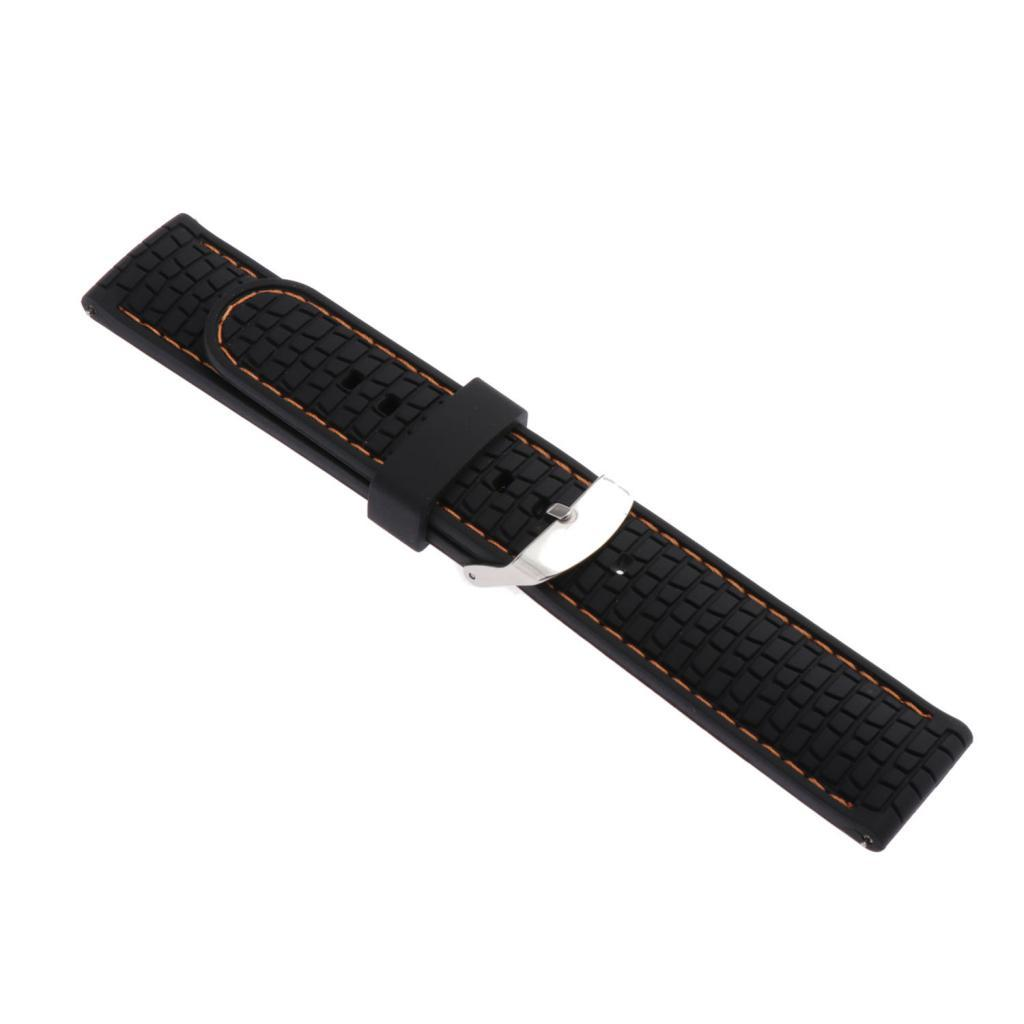 Waterproof-Silicone-Watch-Band-Strap-with-Stainless-Steel-Pin-Buckle-22mm thumbnail 27