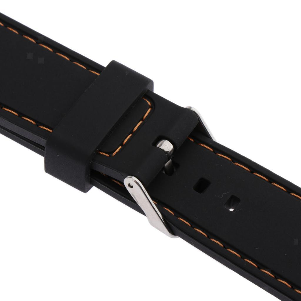 Waterproof-Silicone-Watch-Band-Strap-with-Stainless-Steel-Pin-Buckle-22mm thumbnail 29