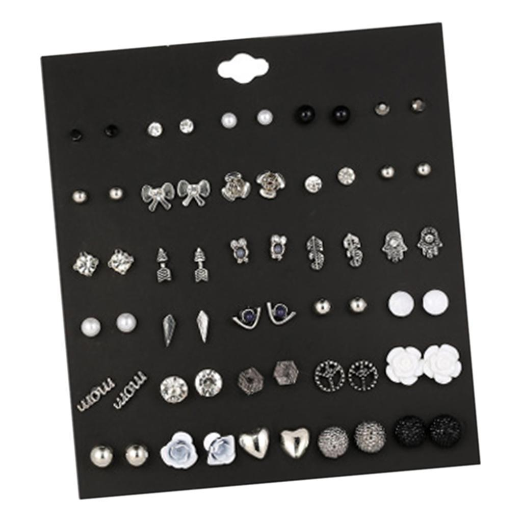 30Pair-Set-Hypoallergenic-Geometric-Crystal-Earrings-Piercing-Stud-Earrings miniature 23
