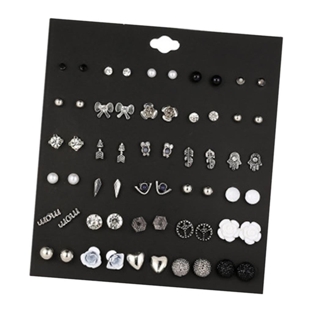 30Pair-Set-Hypoallergenic-Geometric-Crystal-Earrings-Piercing-Stud-Earrings miniature 24