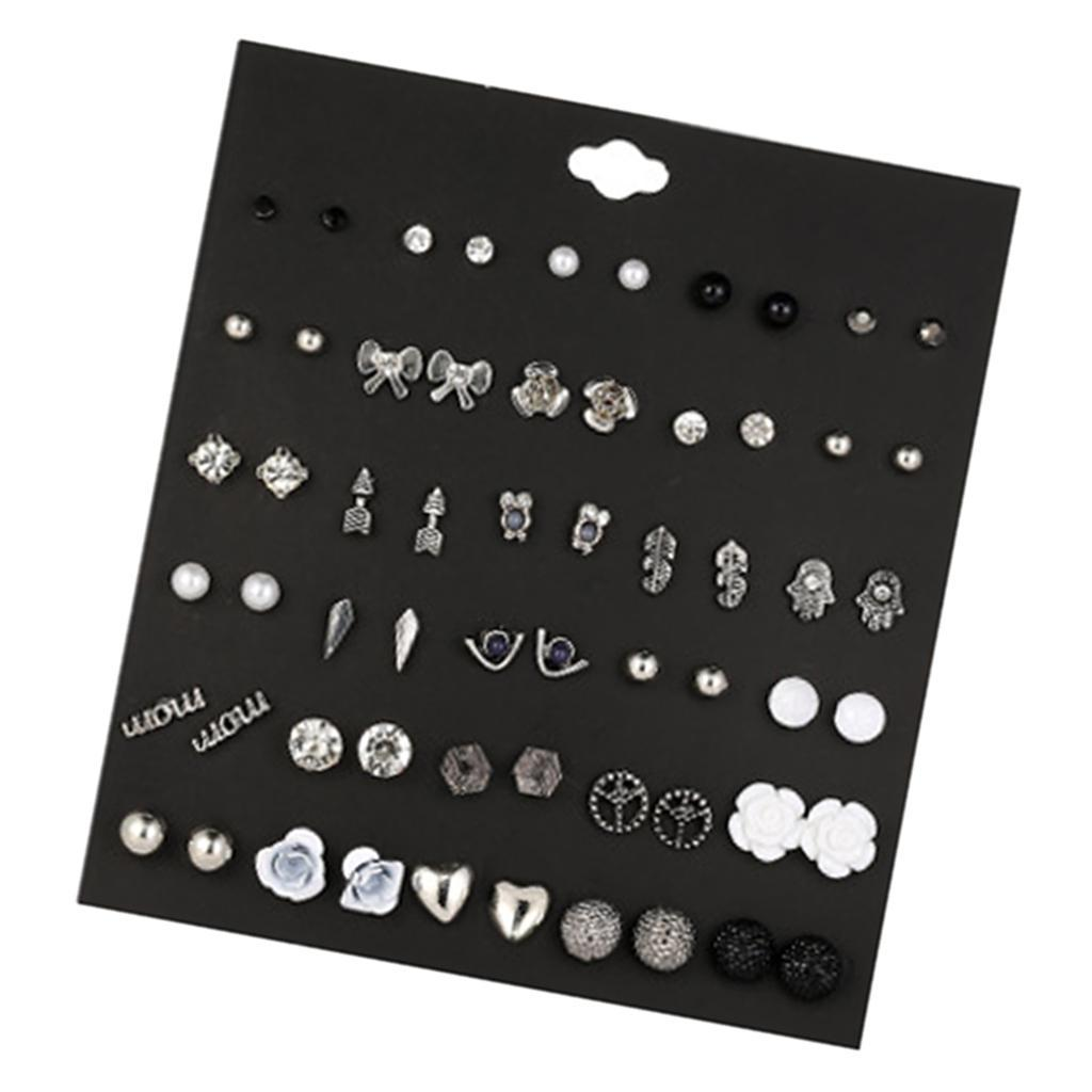 30Pair-Set-Hypoallergenic-Geometric-Crystal-Earrings-Piercing-Stud-Earrings miniature 25