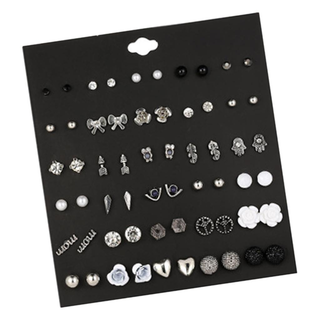30Pair-Set-Hypoallergenic-Geometric-Crystal-Earrings-Piercing-Stud-Earrings miniature 27