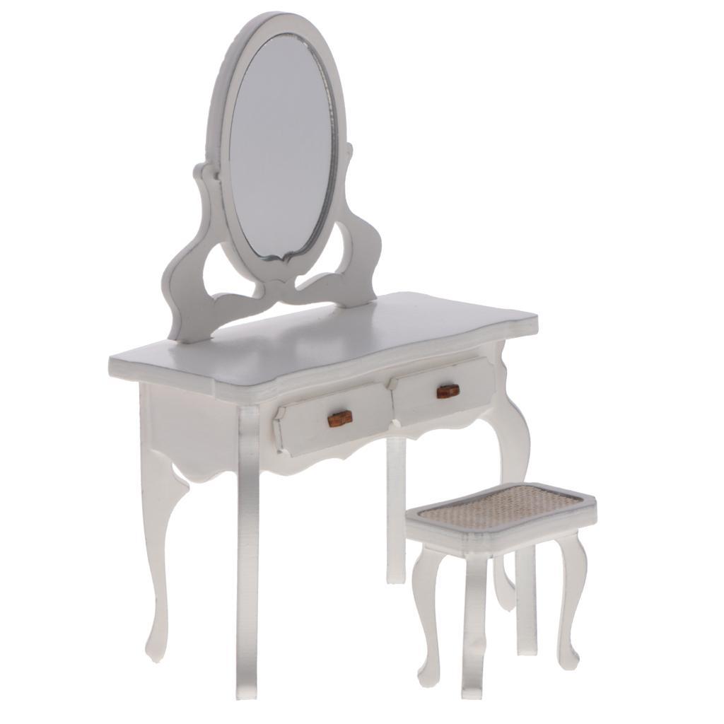 Details Mit Schminktisch Holz 1 Zu Stuhl Miniatur Weiß Puppenhaus 12 Set rdCeoxBW