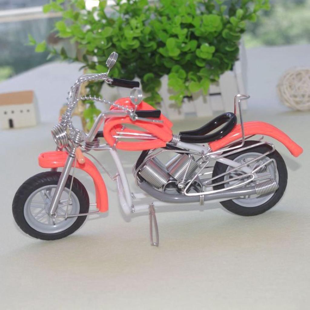 Modello-Di-Motocicletta-In-Metallo-Realistico-In-Ufficio-Vintage-Home-Decor miniatura 21