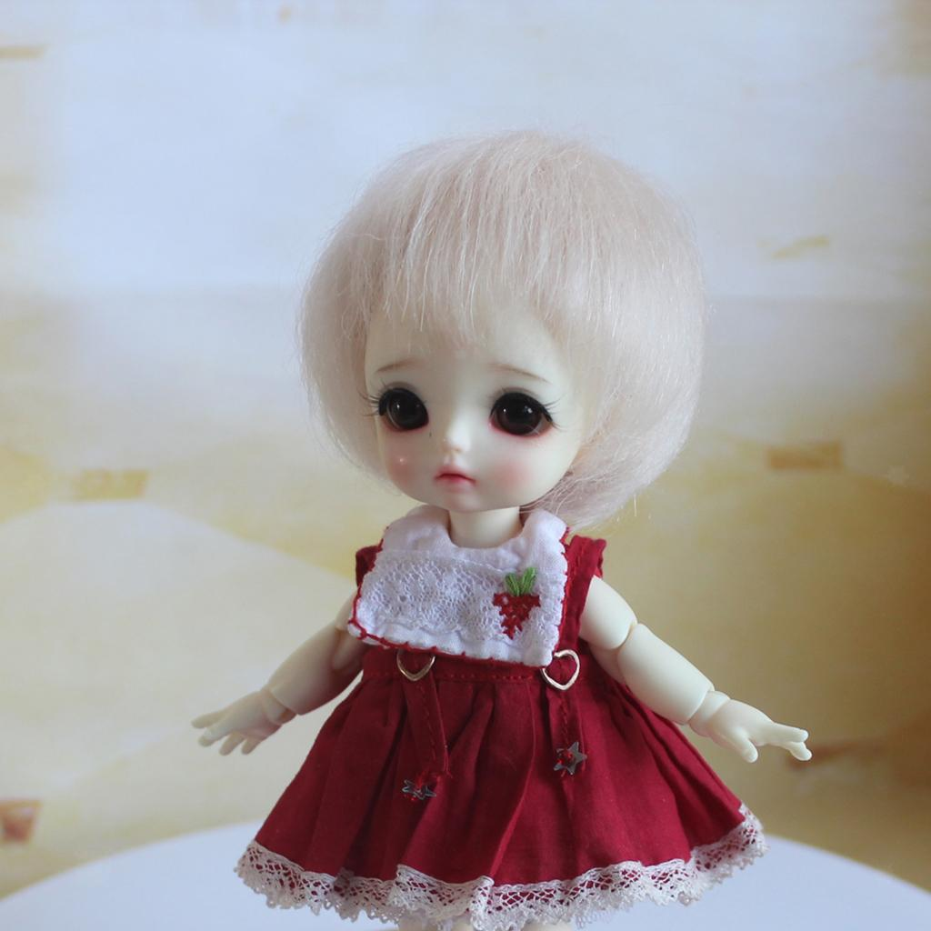 Lovely-Short-Straight-Wig-Bob-Haircut-Mohair-Clothes-Decor-for-1-8-BJD-Doll thumbnail 4
