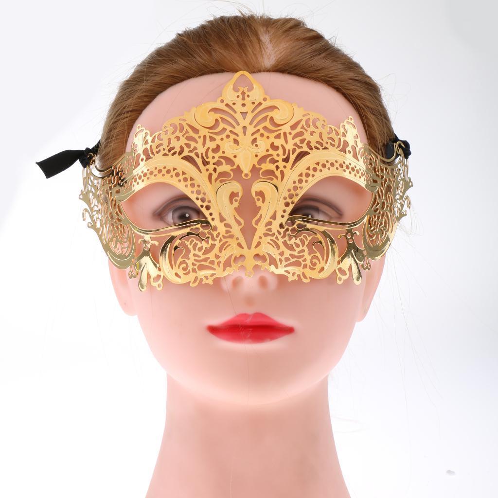 Venetian-Gold-Filigree-Eye-Mask-Masquerade-Ball-Fancy-Dress-for-Man-Women miniature 3