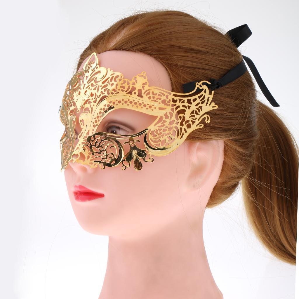 Venetian-Gold-Filigree-Eye-Mask-Masquerade-Ball-Fancy-Dress-for-Man-Women miniature 4