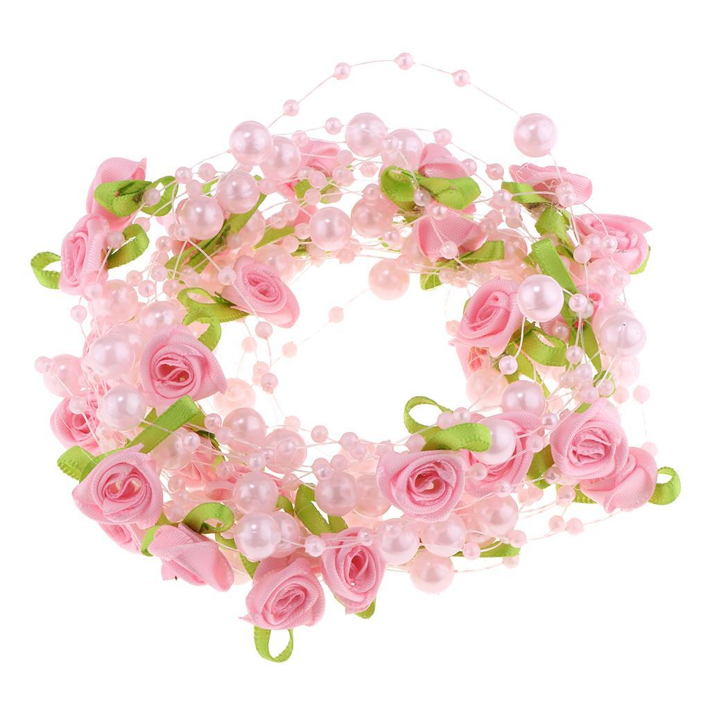 Künstliche Rosen Perlengirlande Perlenband Perlenvorhang Hochzeitsdeko Perlen