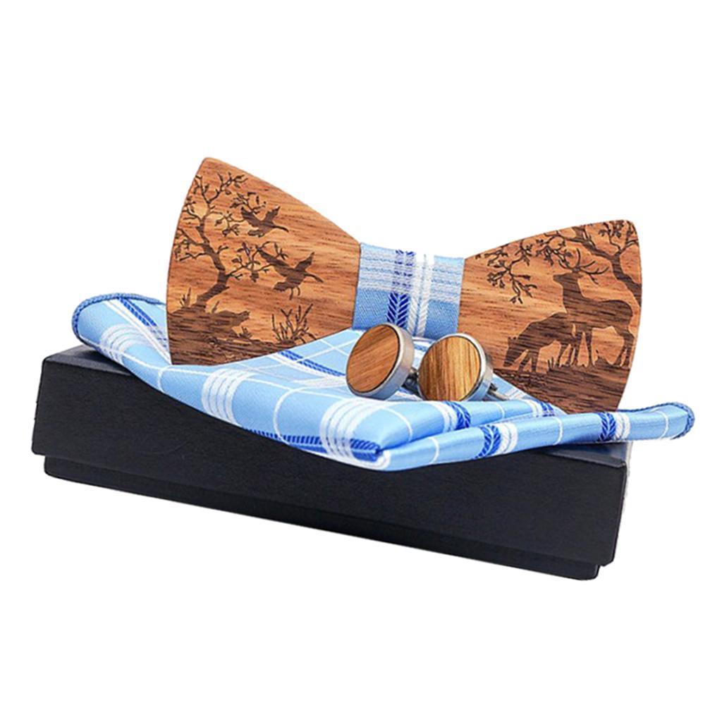 Men-Wooden-Bow-Tie-Set-Patterned-Wood-Bowtie-Handkerchief-Cufflinks-Sets thumbnail 18
