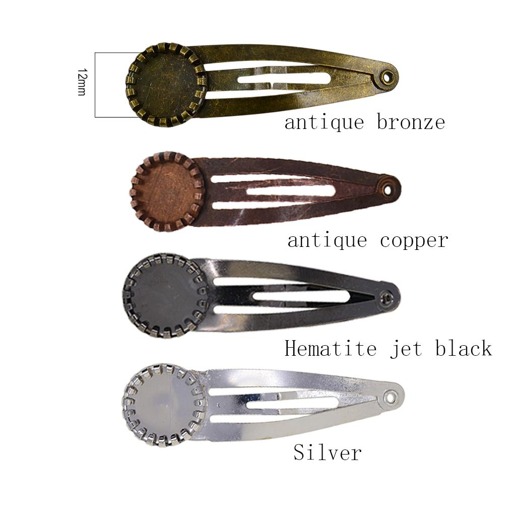 10x DIY Blank Snap Hair Clips Round Cabochon Bezel Settings Tray Base Black