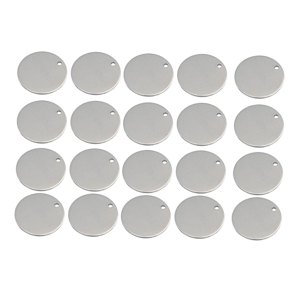 20x Metal Flat Round Circle Blank Charms Tag Pendant Engrave Disc Coin 6mm