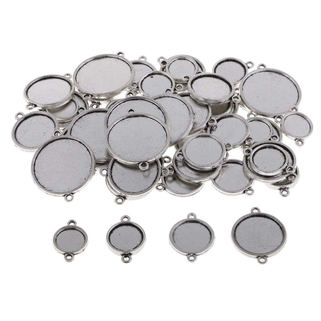 48 Piece Double Sided Charms Pendants Blank Base Photo Cameo Bezel Settings Tray with 2pcs Bail Jewelry Findings for DIY Necklace Bracelet 12-25mm