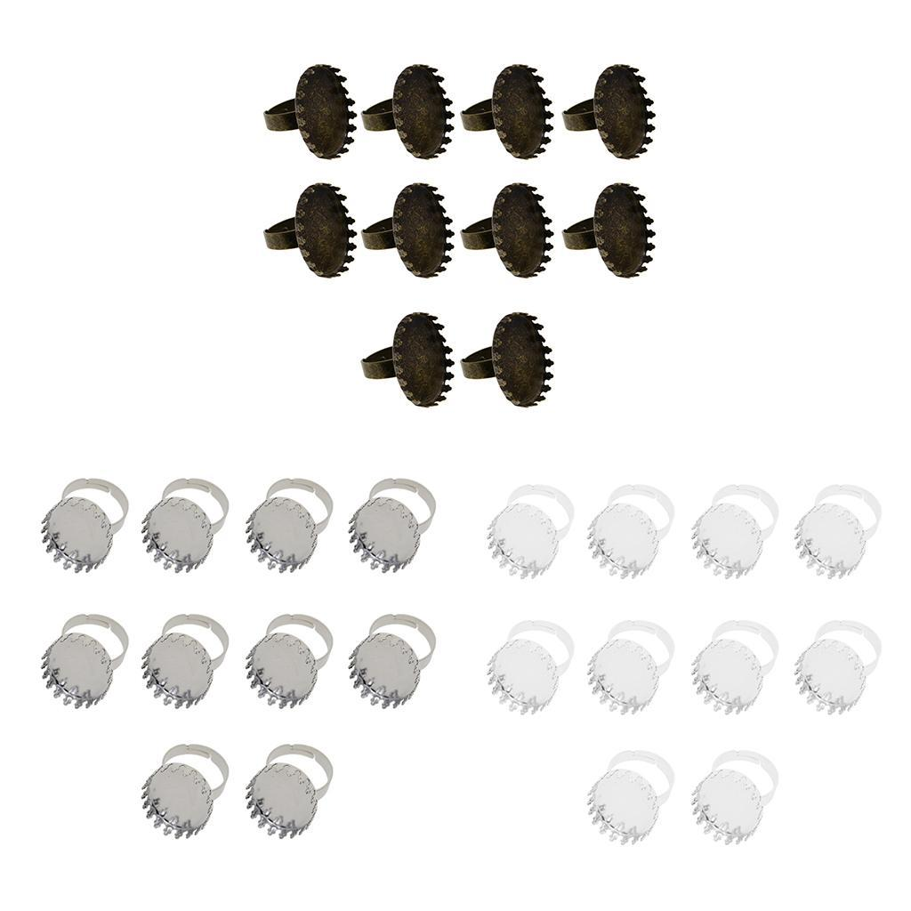 10pcs Adjustable 3 Loops Blank Rings Base Settings Blanks for Jewelry Making