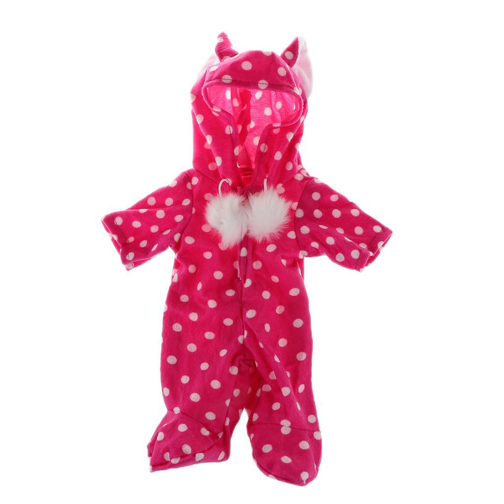 Adorable-Cat-Ears-Rompers-Pajamas-Clothes-for-18inch-American-Doll-My-Life-Dolls miniature 8