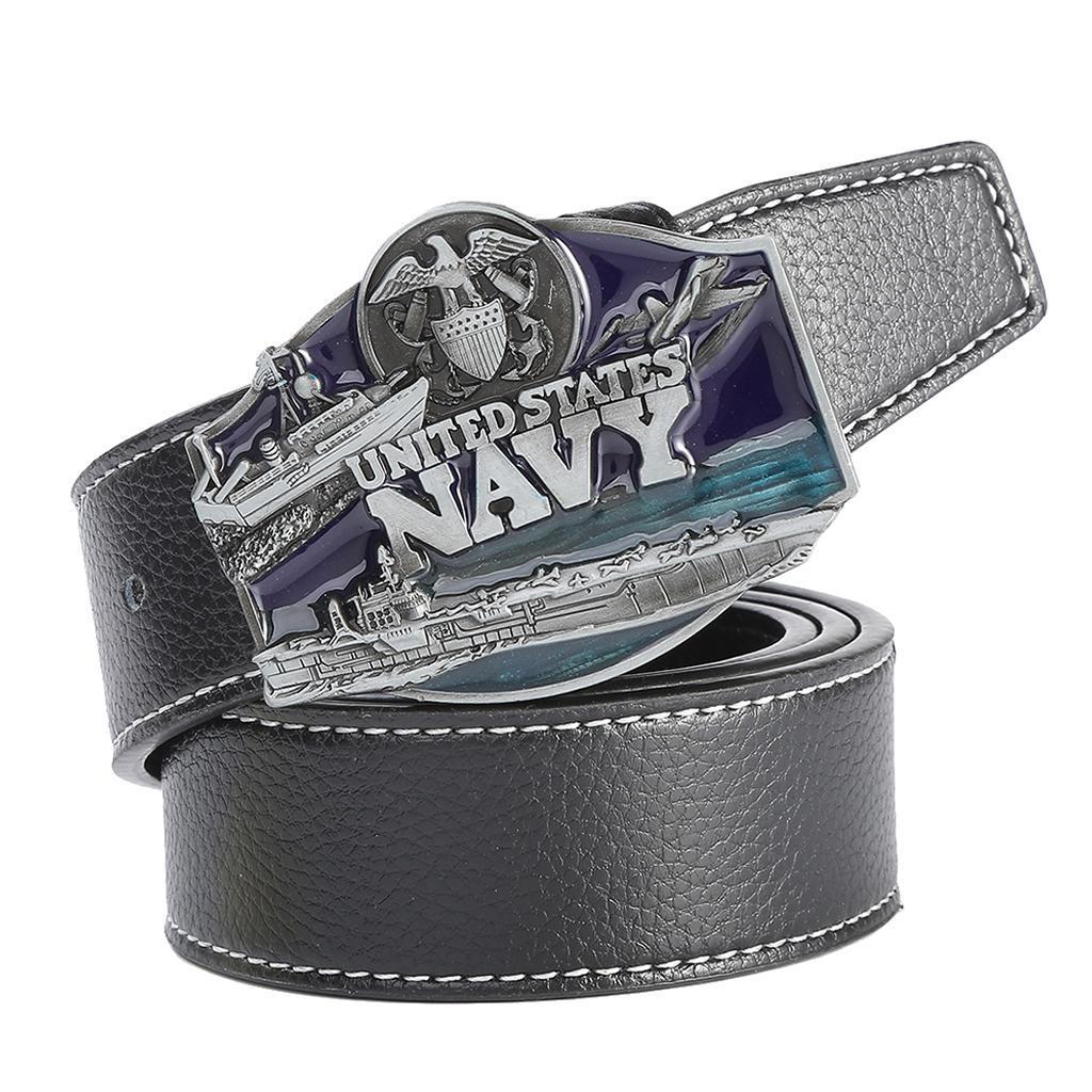 Men-039-s-Leather-Belt-Metal-Buckle-Navy-Pattern-Western-Cowboy-Style-Belt-Strap thumbnail 4
