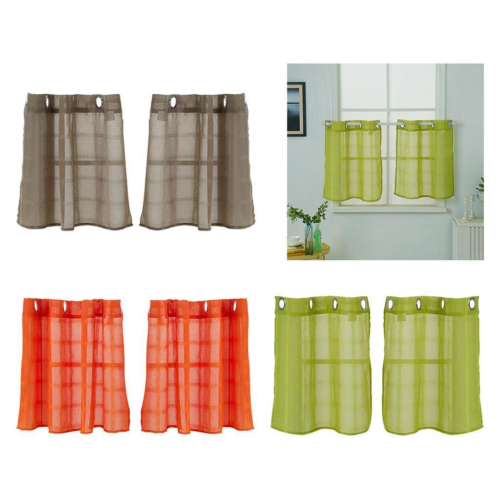 Bathroom Kitchen Tier Window Curtains Simple Elegant 2pcs