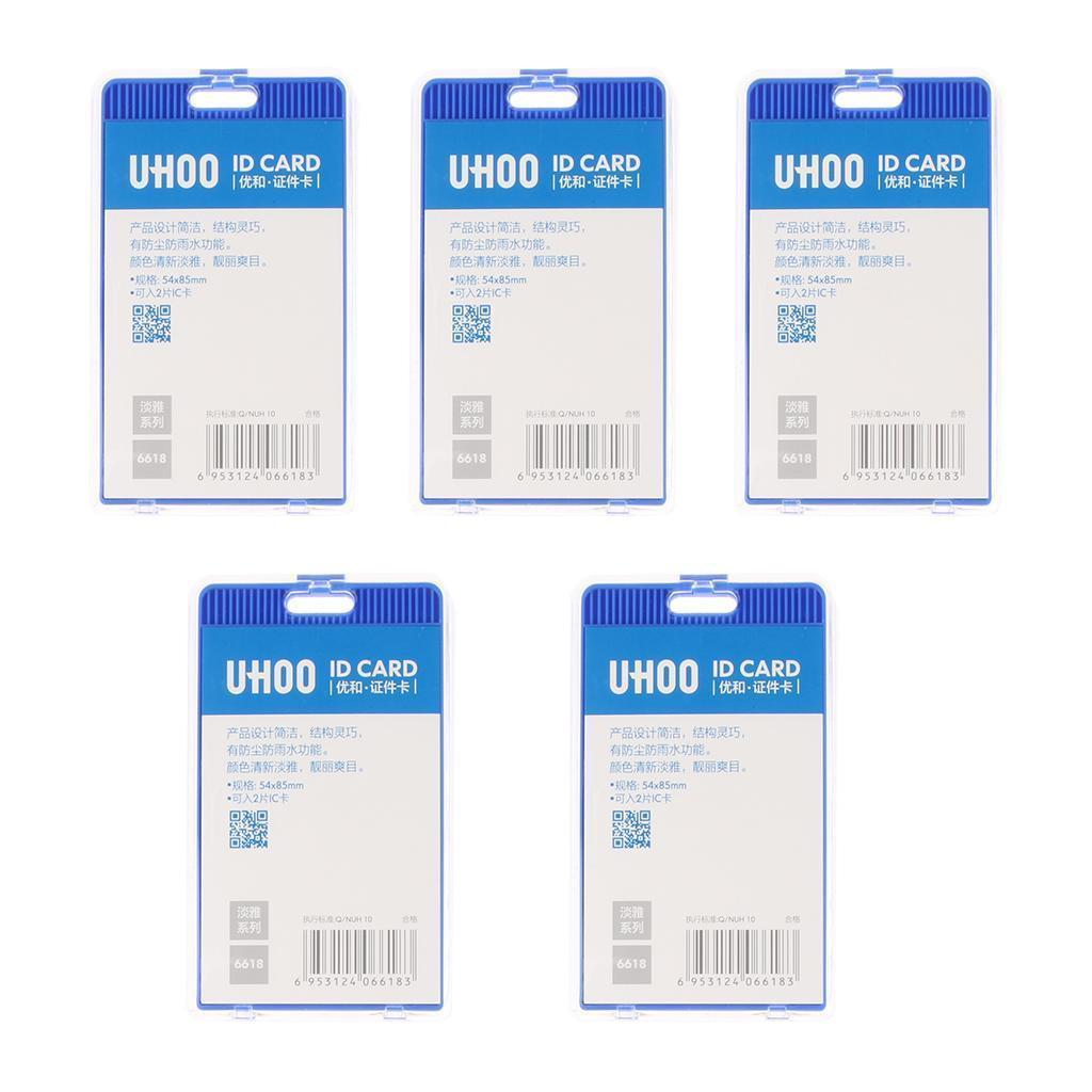 5-Pieces-Acrylic-Vertical-ID-Badge-Credit-Card-Bus-Pass-Holder-Protector miniature 6