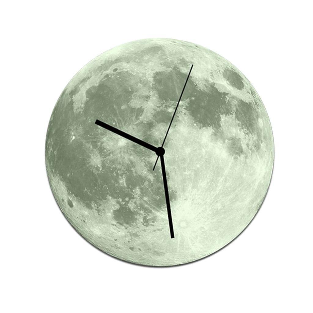 Indoor-Decorative-Wall-Clock-12inch-Luminous-Moon-Battery-Operated-Silent thumbnail 43