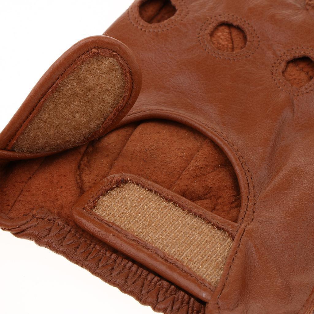 7a43e19ce616e4 Herren-Damen-Lederhandschuhe-Halbfinger-fingerlose-Handschuhe-Fahrhandschuh  Indexbild 32