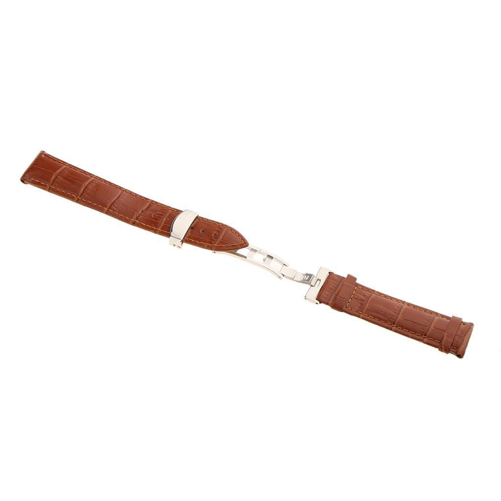 Genuine-Leather-Watch-Strap-Band-18-20-22mm-With-Butterfly-Deployment-Clasp thumbnail 26